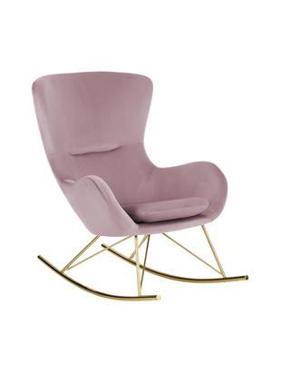Sedia a dondolo in velluto Wing, Rivestimento: velluto (poliestere) 15.0, Struttura: metallo, zincato, Rosa, Larg. 77 x Prof. 96 cm