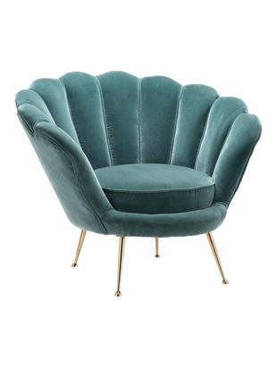 Fotel z aksamitu Trapezium, Tapicerka: 95%poliester, 5%bawełna, Nogi: metal powlekany, Turkusowy, mosiądz, S 97 x G 79 cm