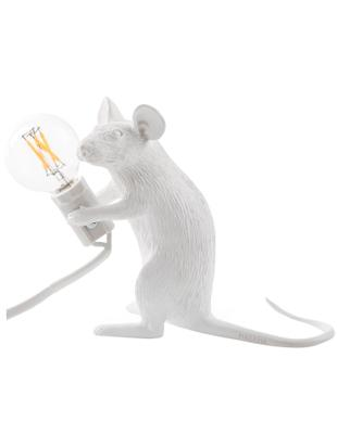 Design Tischleuchte Mouse, Kunstharz, Weiss, 5 x 13 cm