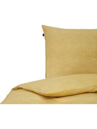 Bettwäsche Raja aus Bio-Baumwolle, Bio-Baumwolle, Ockergelb, 135 x 200 cm