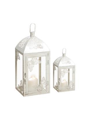 Komplet latarenek Peer, 2 elem., Metal malowany proszkowo, szkło, Biały, antyczne wykończenie, Różne rozmiary