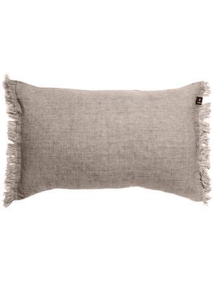 Cuscino in lino con frange Levelin, Rivestimento: lino, Beige, Larg. 40 x Lung. 60 cm