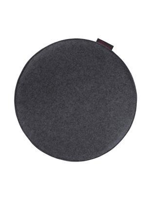 Okrągła poduszka na siedzisko z filcu Avaro, 4 szt., Antracytowy, Ø 35 x W 1 cm