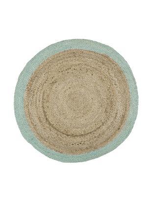 Runder Jute-Teppich Shanta, handgefertigt, Flor: Jute, Jute, Mintgrün, Ø 100 cm (Größe XS)