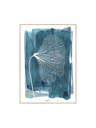 Ingelijste digitale print White Ginko, Afbeelding: digitale druk op papier (, Lijst: HDF, Blauw, wit, 30 x 40 cm