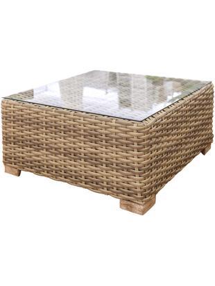 Zewnętrzny stolik kawowy Saba, Korpus: polirattan, odporny na pr, Stelaż: aluminium, Nogi: drewno akacjowe, lite, Blat: szkło, Brązowy, S 80 x W 38 cm