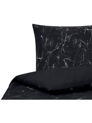 Perkal-Bettwäsche Malin mit Marmor Muster, Webart: Perkal Fadendichte 200 TC, Schwarz, 135 x 200 cm
