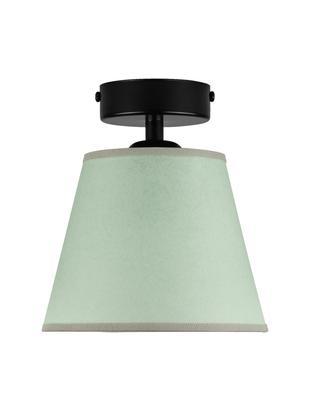 Kleine plafondlamp Iro van papier, Lampenkap: papier, Baldakijn: gepoedercoat metaal, Groen, zwart, Ø 16 x H 18 cm