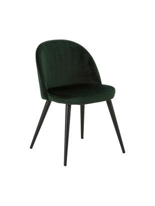 Sedie imbottite in velluto Amy, 2 pz., Rivestimento: velluto (100% poliestere), Gambe: metallo verniciato a polv, Verde, Larg. 47 x Prof. 55 cm