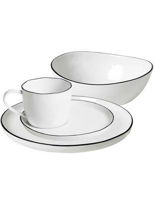Ręcznie wykonany komplet naczyń śniadaniowych Salt, 16 elem., Porcelana, Złamana biel, czarny, Różne rozmiary