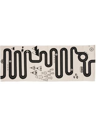 Tappeto in cotone Adventure, Cotone, Bianco latteo, nero, Larg. 70 x Lung. 180 cm