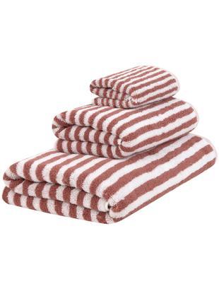 Komplet ręczników Viola, 3 elem., 100% bawełna Średnia gramatura 550 g/m², Terakota, kremowobiały, Różne rozmiary