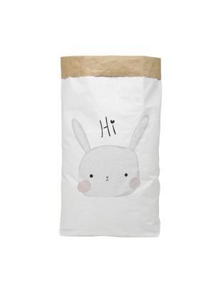 Bolsa de almacenaje Rabbit, Papel reciclado, Blanco, negro, gris, rosa, An 60 x Al 90 cm