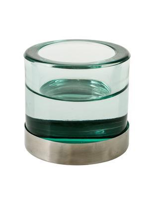Portavelas Blanka, Vidrio, metal, Verde, plateado, Ø 6 x Al 6 cm
