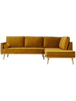 Divano con chaise-longue in velluto Saint (3 posti), Rivestimento: velluto (poliestere) 35.0, Giallo ocra, Larg. 243 x Prof. 220 cm