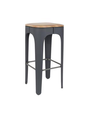 Barhocker Up-High, Beine: Polypropylen, matt lackie, Sitz: Eschenholz Beine: Dunkelgrau Fußstütze: Dunkelgrau, 35 x 73 cm