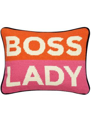 Kleines handbesticktes Designer Kissen Boss Lady, mit Inlett, Vorderseite: Wolle, Rückseite: Baumwollsamt, Orange, Weiß, Pink, Marineblau, 23 x 30 cm
