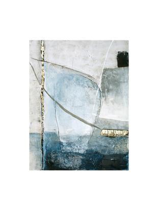 Handgemaltes Leinwandbild Golden Blue II, Bild: Ölfarben auf Leinen (300 , Mehrfarbig, 90 x 120 cm