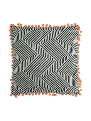 Kissen Waves mit orangefarbenden Bommeln, mit Inlett, Polyester, Schwarz, gebrochenes Weiß, Orange, 45 x 45 cm