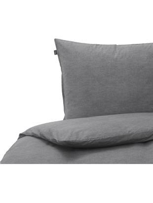 Bettwäsche Birk aus Bio-Baumwolle, Bio-Baumwolle, Anthrazit, 135 x 200 cm