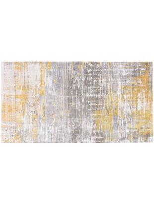 Tappeto di design Streaks, Tessuto: Jacquard, Retro: Miscela di cotone, rivest, Giallo, grigio, bianco, Larg. 80 x Lung. 150 cm (taglia XS)
