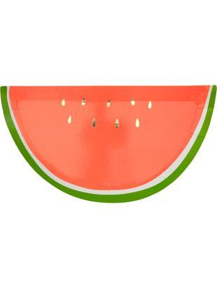 Talerz z papieru Watermelon, 8 szt., Papier, foliowany, Czerwony, zielony, odcienie złotego, S 28 x G 15 cm