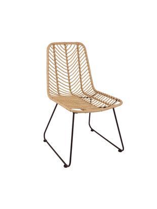 Krzesło z polirattanu Providencia, Stelaż: metal malowany proszkowo, Brązowy, S 44 x G 55 cm