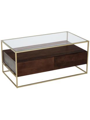 Tavolino da salotto con cassetti Theodor, Piano d'appoggio: vetro, Struttura: metallo verniciato a polv, Trasparente, legno di mango, dorato, Larg. 100 x Alt. 45 cm