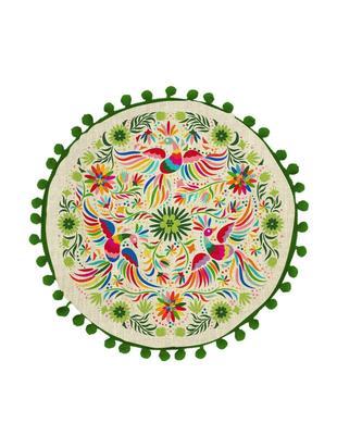 Cojín Otomi, con relleno, 85%poliéster, 15%lino, Multicolor, Ø 40 x Al 12 cm