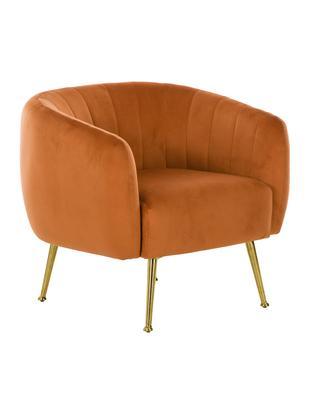 Fluwelen fauteuil Coco, Bekleding: fluweel (polyester), Frame: massief berkenhout, spaan, Poten: gecoat metaal, Oranje, B 80 x D 75 cm