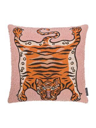 Kussenhoes Tigris, Weeftechniek: jacquard, Roze, oranje, zwart, 45 x 45 cm