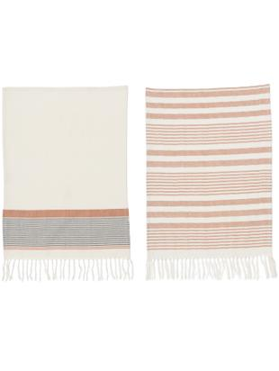 Komplet ręczników kuchenny Rosaline, 2 elem., Bawełna, Biały, czerwony, S 50 x D 70 cm