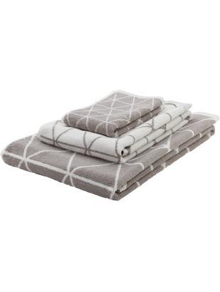 Wende-Handtuch-Set Elina mit grafischem Muster, 3-tlg., Grau, Cremeweiß, Sondergrößen