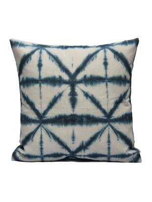 Kissenhülle Hanna mit Batikprint, Baumwolle, Weiß, Blau, 40 x 40 cm