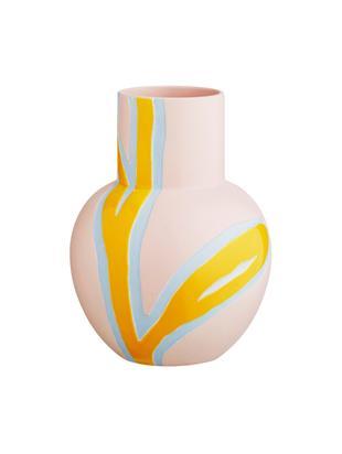 Vaso di design fatto a mano Fiora, Porcellana, Rosa, giallo, azzurro, Larg. 19 x Alt. 25 cm