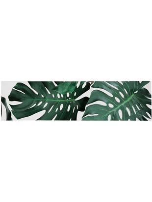 Bieżnik Monstera, Poliester, Zielony, biały, S 40 x D 150 cm