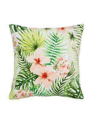 Kussenhoes Jenna met tropisch patroon in groen/roze, 100% katoen, Multicolour, 40 x 40 cm