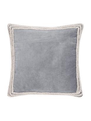 Funda de cojín de terciopelo Martina, Parte delantera: 100%terciopelo de algodó, Parte trasera: 100%algodón, Gris, blanco crema, An 45 x L 45 cm