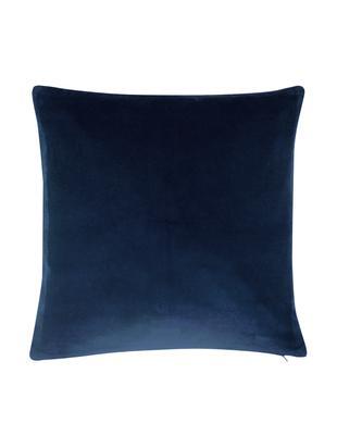 Einfarbige Samt-Kissenhülle Alyson in Marineblau, Baumwollsamt, Marineblau, 40 x 40 cm