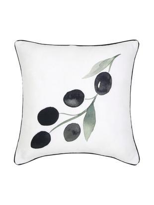Poszewka na poduszkę Oliva, Bawełna, Biały, ciemny szary, zielony Wykończenie brzegów: ciemny szary, S 40 x D 40 cm