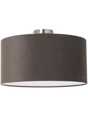 Plafondlamp Basixx van linnen, Lampenkap: polyester (fluweel), Diffuser: kunststof, Antraciet, Ø 50 x H 35 cm