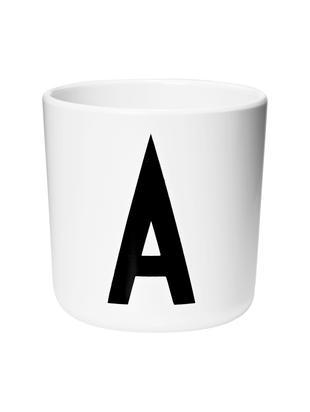 Kubek dla dzieci Alphabet (warianty od A do Z), Melamina, Biały, czarny, Kubek A