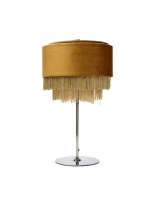 Lámpara de mesa de terciopelo Tassel, Flecos: poliéster, Cable: plástico, Amarillo, Ø 25 x Al 43 cm