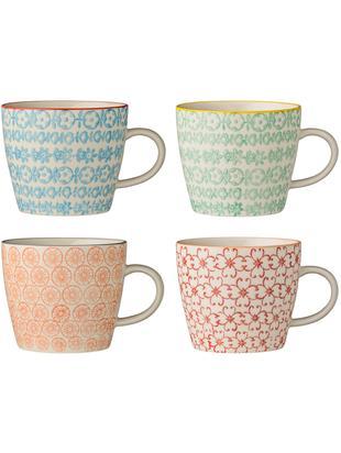 Tassen-Set Carla, 4-tlg., Steingut, Weiß, Schwarz, Gelb, Rot, Orange, Ø 10 x H 8 cm