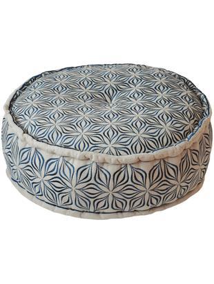 Okrągła poduszka podłogowa z lnu Martha, Antracytowy, Ø 60 x W 20 cm