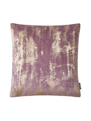 Fluwelen kussenhoes Shiny, Polyester, Mauve, goudkleurig, glanzend, 40 x 40 cm