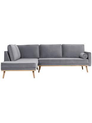 Sofa narożna z aksamitu Saint (3-osobowa), Tapicerka: aksamit (poliester) 3500, Stelaż: lite drewno dębowe, płyta, Szary, S 243 x G 220 cm