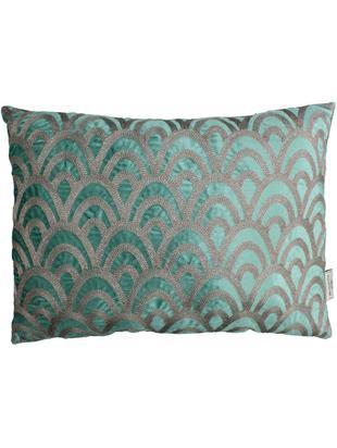 Haftowana poduszka z aksamitu  z wypełnieniem Trole, Aksamit, Zielony, odcienie srebrnego, S 40 x D 60 cm