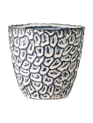 Osłonka na doniczkę Bonia, Kamionka, Biały, niebieski, Ø 14 x W 14 cm