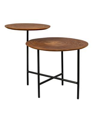Tavolino con due piani Mathison, Struttura: metallo, verniciato a pol, Ripiani: pannello di fibra a media, Nero, albero di noce, Larg. 75 x Prof. 49 cm